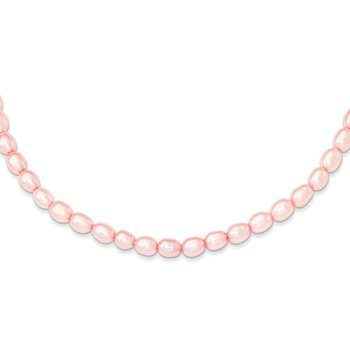 Sterling Silver RH-plate 4-5mm Pink Rice FW Cultured Pearl Necklace