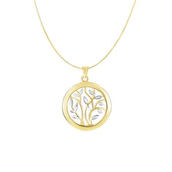 14K Gold Tree of Life Circle Necklace