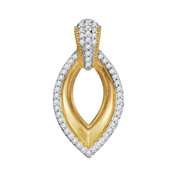 10kt Yellow Gold Womens Round Diamond Oval Pendant 1/6 Cttw