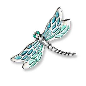 Fine Enamels Sterling Silver Dragonfly Brooch-Turquoise
