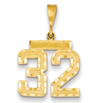 14k Medium Diamond-cut Number 32 Charm