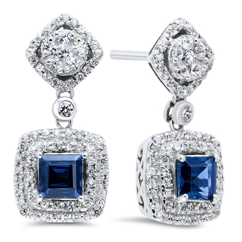 Gemsone Silver Created Sapphire Earrings