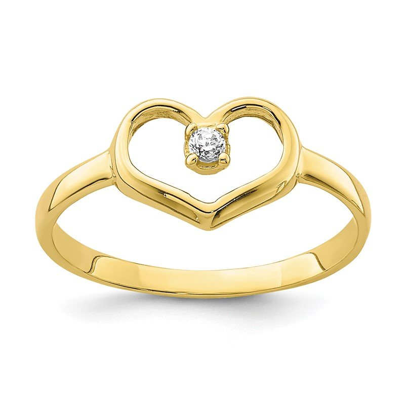 Quality Gold 10K CZ Heart Baby Ring