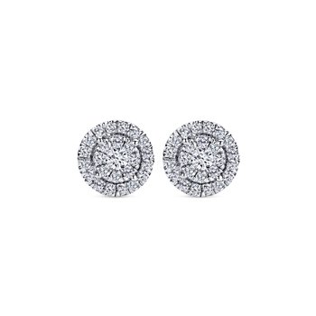 14k White Gold Double Diamond Halo Stud Earrings