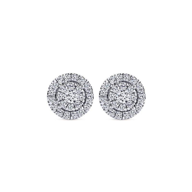 Gabriel Fashion 14k White Gold Double Diamond Halo Stud Earrings