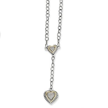 Sterling Silver w/14k Diamond 2-Hearts Drop Necklace