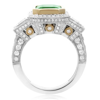 Side Stone Emerald & Diamond Ring