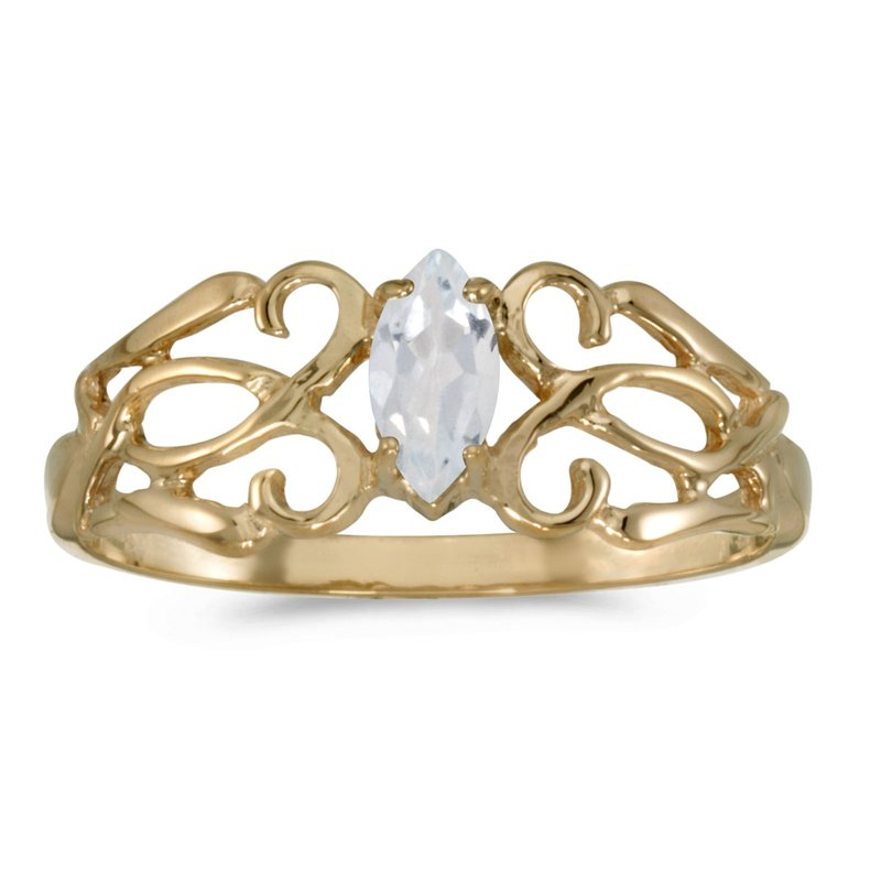 Color Merchants 14k Yellow Gold Marquise White Topaz Filagree Ring