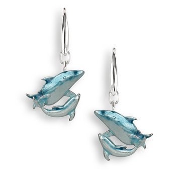 Blue Dolphin Wire Earrings.Sterling Silver
