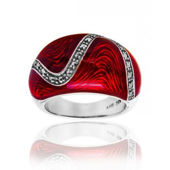 Red Cabochon Enamel Ring