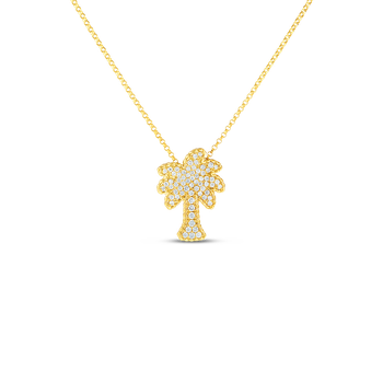 18KT GOLD PALM TREE PENDANT WITH DIAMONDS