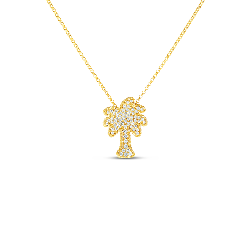 Roberto Coin 18Kt Gold Palm Tree Pendant With Diamonds