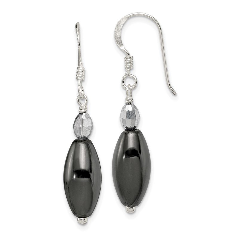 Quality Gold Sterling Silver Shepherd Hook Crystal & Black Agate Dangle Earrings