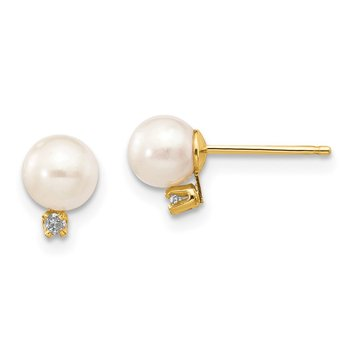 14k 5-6mm White Round Freshwater Cultured Pearl .02ct Diamond Post Earrings