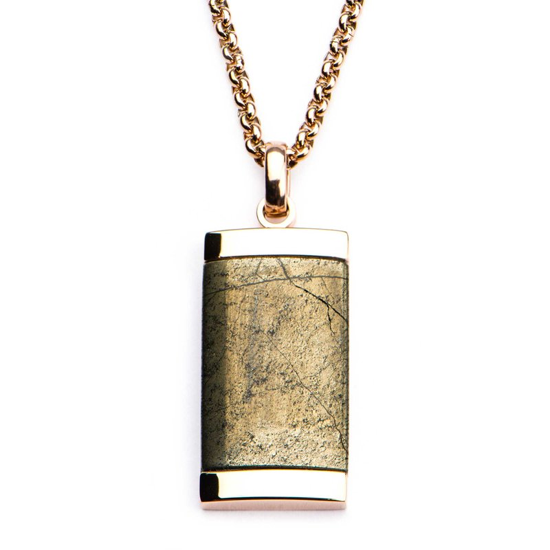 INOX Men's Jewelry Chalcopyrite Dog Tag Pendant with Rose Gold Plated Chain