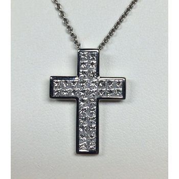 Invisibly Set Diamond Cross Pendant