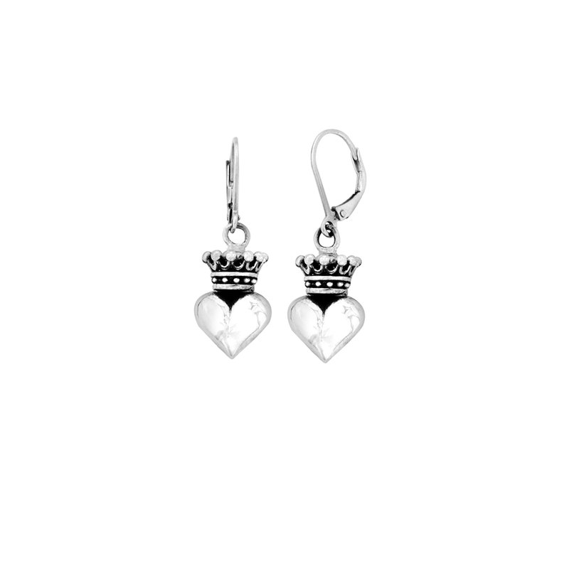 King Baby Small Silver 3D Crowned Heart Lever Back Earrings
