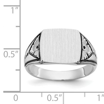 14k White Gold 11.0x11.5mm Closed Back Antiqued Men's Signet Ring