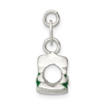 Sterling Silver Polished Enamel Christmas Tree Charm