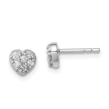 Sterling Silver Rhodium-plated CZ Heart Post Earrings