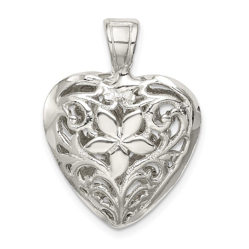 Quality Gold Sterling Silver Filigree Heart Charm