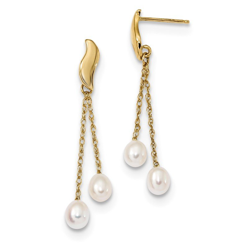 Quality Gold 14k 4-5mm White Rice Freshwater Cultured Pearl Dangle Post Earrings