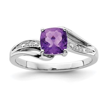 Sterling Silver Rhodium Plated Diamond and Amethyst Square Ring