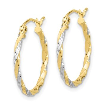 10k & Rhodium Hollow Twisted Hoop Earrings
