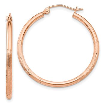 14k Rose Gold Lightweight Satin Diamond Cut Hoop Earrings