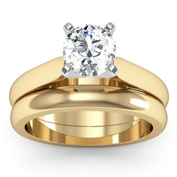 Tapered Cathedral Engagement Ring with Matching Wedding Band