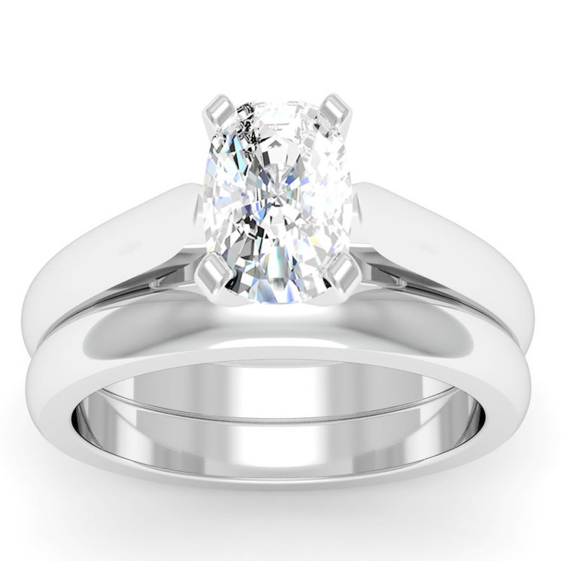California Coast Designs Tapered Cathedral Engagement Ring with Matching Wedding Band