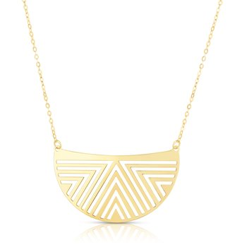 14K Gold Geometric Half Moon Necklace