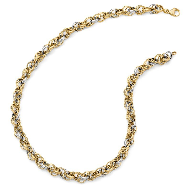 cut bead two necklace accent chain inches double diamond gold tone
