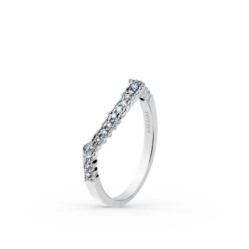 Milgrain Contoured Diamond Wedding Band