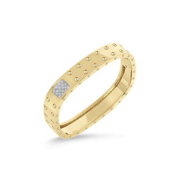 2 Row Square Bangle With Diamonds &Ndash; 18K Yellow Gold, S