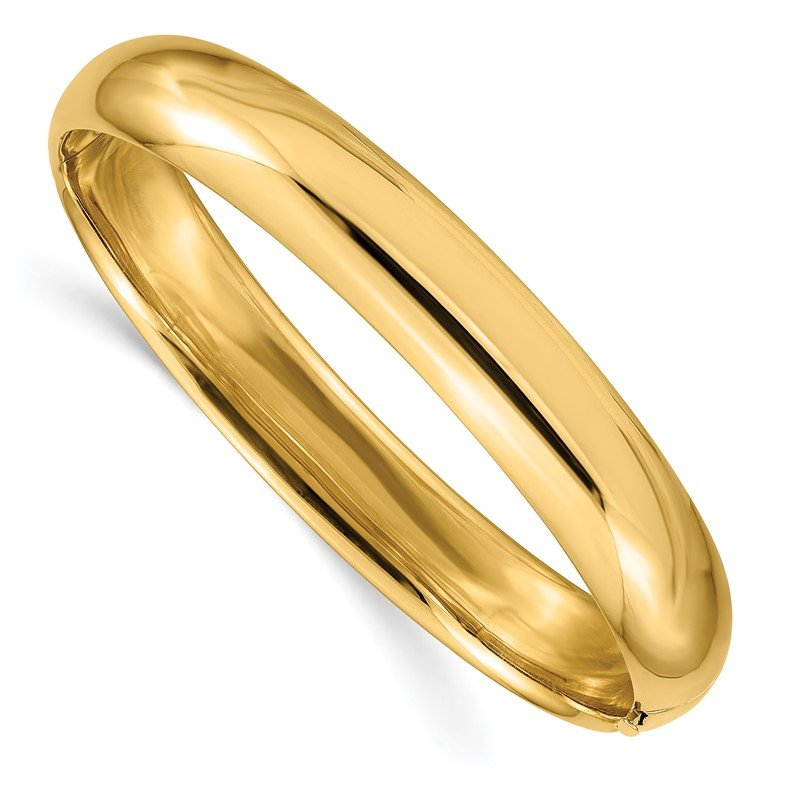 Quality Gold 14k 7/16 Oversize High Polished Hinged Bangle Bracelet