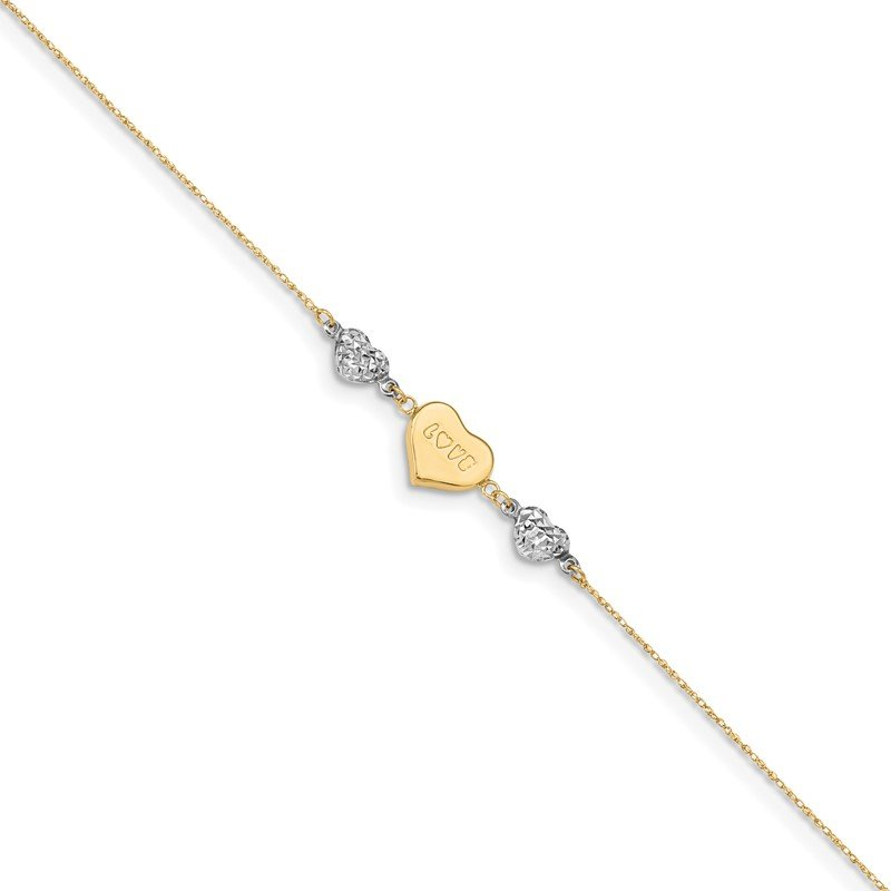 Quality Gold 14K Two-tone Diamond-cut Puffed Heart LOVE 9in Plus 1in ext Anklet