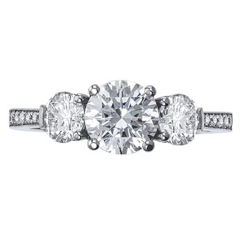 Three Stone Diamond Bead Set Engagement Ring