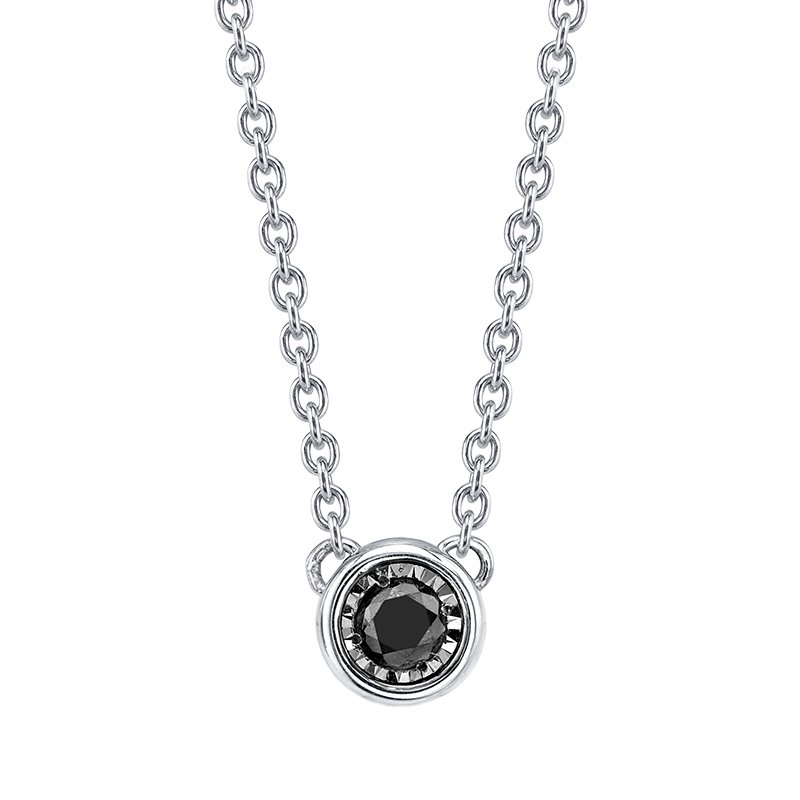 HURST Sterling Silver Black Diamond Bezel-Set Pendant