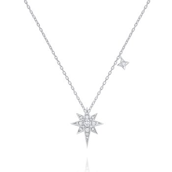 14K Diamond Double Star Necklace