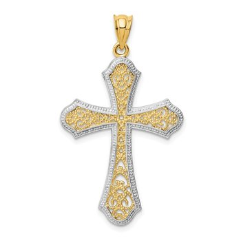 14k w/Rhodium Filigree Cross Pendant