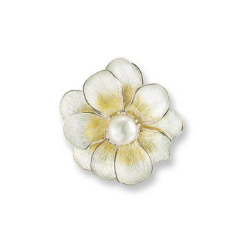 Yellow Camellia Brooch-Pendant.Sterling Silver-Freshwater Pearls