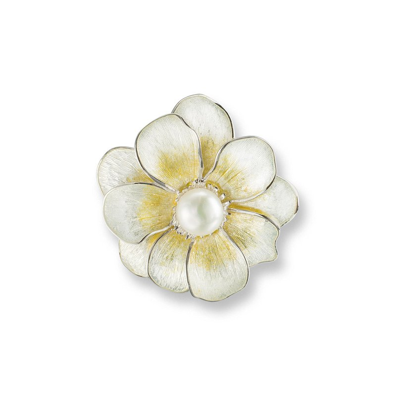 Nicole Barr Designs Yellow Camellia Brooch-Pendant.Sterling Silver-Freshwater Pearls