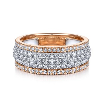 14K WhiteRose Gold pave Diamond Ring