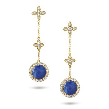 Royal Lapis Halo Dangle Earrings 18KY