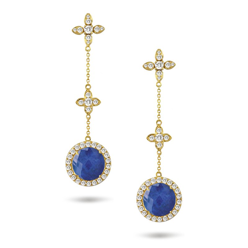 Doves Royal Lapis Halo Dangle Earrings 18KY