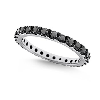 Black Diamond Eternity Stackable Band in 14k White Gold with 27 Diamonds weighing 1.20ct tw.