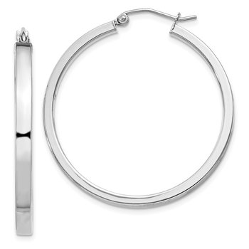 Sterling Silver Rhodium-plated 3x35mm Square Tube Hoop Earrings