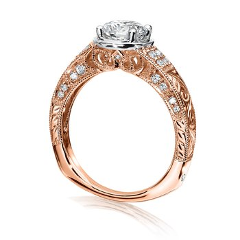 Diamond Engagement Ring Mounting in 14K Rose/White Gold (.22 ct. tw.)