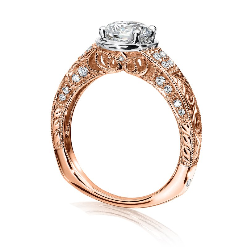Valina Diamond Engagement Ring Mounting in 14K Rose/White Gold (.22 ct. tw.)
